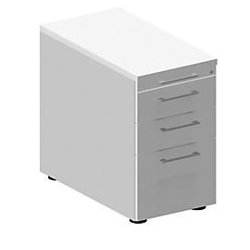 Schäfer Shop Genius Archivador fijo 1336, con tirador cuadrado, An 435 x Al 717mm, aluminio blanco/aluminio blanco/blanco