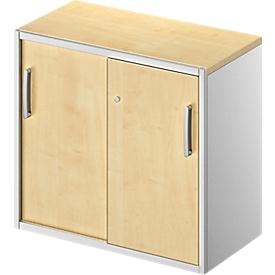 Schäfer Shop Genius Armario auxiliar TETRIS SOLID, 2 AA, a la altura del escritorio, An 800mm, cubierta de 25mm, arce/aluminio blanco