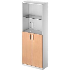 Schäfer Shop Genius Armario combinado TETRIS SOLID, 5 AA, puertas de vidrio y puertas batientes, An 800mm, con cerradura
