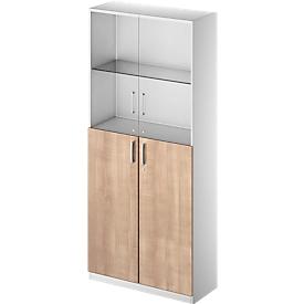 Schäfer Shop Genius Armario combinado TETRIS SOLID, 6 AA, puertas de vidrio y puertas batientes, An 1000mm, con cerradura, vidrio/cerezo Romana/aluminio blanco