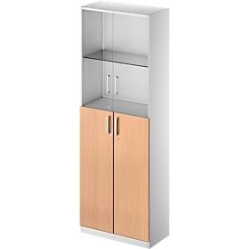 Schäfer Shop Genius Armario combinado TETRIS SOLID, 6 AA, puertas de vidrio y puertas batientes, An 800mm, con cerradura, vidrio/cerezo Romana/aluminio blanco