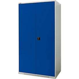 Schäfer Shop Genius armario de doble puerta FS, chapa de acero, agujeros de ventilación, ancho 1055 x fondo 620 x alto 1950 mm, 5 OH, gris claro/ azul genciana, hasta 1000 kg