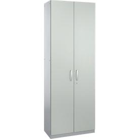 Schäfer Shop Genius Armario de puertas batientes TETRIS SOLID, cuerpo de acero, 5 AA, An 800mm, con cerradura, gris luminoso/aluminio blanco