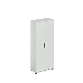 Schäfer Shop Genius Armario de puertas batientes TETRIS WOOD, 5 AA, altura incl. deslizador, An 800mm, gris luminoso