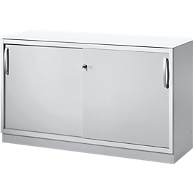 Schäfer Shop Genius Armario de puertas correderas TETRIS SOLID, 2 AA, An 1200 x Al 818mm, tabique central, cubierta de 19mm, blanco/aluminio blanco