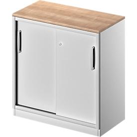 Schäfer Shop Genius Armario de puertas correderas TETRIS SOLID, 2 AA, An 800mm, con cubierta de 19mm, cerezo Romana/aluminio blanco
