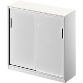Schäfer Shop Genius Armario de puertas correderas TETRIS SOLID, 3 AA, An 1200 x Al 1170mm, tabique central, cubierta de 19mm, blanco/aluminio blanco
