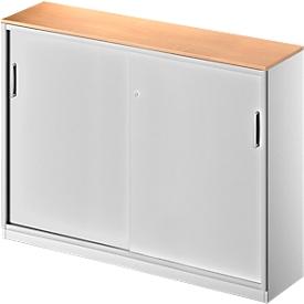 Schäfer Shop Genius Armario de puertas correderas TETRIS SOLID, 3 AA, tabique central, An 1600 x P 413 x Al 1170mm, haya/aluminio blanco