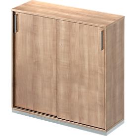 Schäfer Shop Genius Armario de puertas correderas TETRIS WOOD, 3 AA, An 1200mm, incl. zócalo de acero, acabado en cerezo Romana
