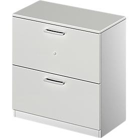 Schäfer Shop Genius Armario para archivadores colgantes TETRIS SOLID, 2 AA, An 800mm, con cerradura, con cubierta, gris luminoso/aluminio blanco