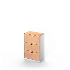 Schäfer Shop Genius Armario para archivadores colgantes TETRIS SOLID, 3 cajones, 3 AA An 800 x Al 1170mm, acabado en haya/aluminio blanco
