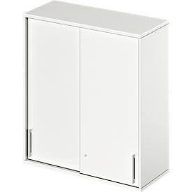 Schäfer Shop Genius Armario superior de puertas correderas TETRIS WOOD, 3 AA, An 1000mm, blanco