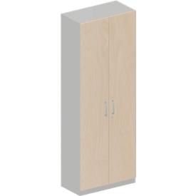 Schäfer Shop Genius Armario TETRIS SOLID, 5 alturas de archivo, 1 balda, barra de colgar, con cerradura, ancho 800 x fondo 412 x alto 2143 mm, aluminio/arce blanco