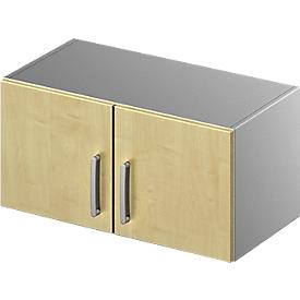 Schäfer Shop Genius Aufsatzschrank TETRIS SOLID, Stahlkorpus, 1 OH, B 800 mm, Ahorn-Dekor/weißalu