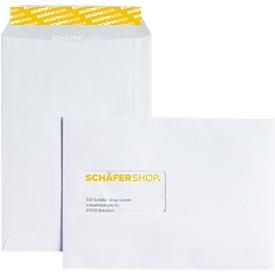 Schäfer Shop Genius Bolsas de correo, con ventana, adhesivas, 90 g/m², DIN C5, 500 unidades, blanco offset