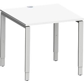 Schäfer Shop  Genius Bureautafel MODENA FLEX, 4-poot rechthoekige buis, 800 x 800 mm, wit
