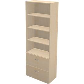 Schäfer Shop Genius Combinación de estantería y armario para archivadores colgantes TETRIS WALL, An 800 x P 440 x Al 2250mm, acabado en arce