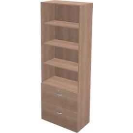Schäfer Shop Genius Combinación de estantería y armario para archivadores colgantes TETRIS WALL, An 800 x P 440 x Al 2250mm, acabado en cerezo Romana