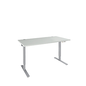 Schäfer Shop Genius Escritorio AERO FLEX, regulable en altura eléctricamente, rectangular, pie C, ancho 1200 x fondo 800 x alto 700-1200 mm, aluminio gris claro/blanco + panel de memoria