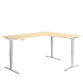 Schäfer Shop Genius escritorio angular AERO FLEX, regulable en altura eléctricamente, ángulo de 90° alterno, W 2000 mm, arce/aluminio blanco + panel de memoria