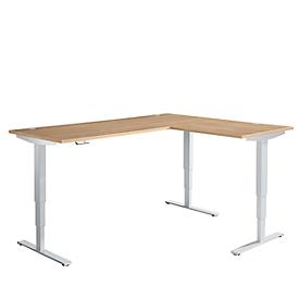 Schäfer Shop Genius escritorio angular AERO FLEX, regulable en altura eléctricamente, ángulo de 90° alterno, W 2000 mm, cerezo Romana/aluminio blanco + panel de memoria