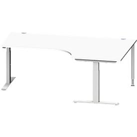 Schäfer Shop Genius Escritorio en L MODENA FLEX 90°, pata en T de tubo rectangular, An 2000mm, extensión derecha, blanco/aluminio blanco