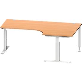 Schäfer Shop Genius Escritorio en L MODENA FLEX 90°, pata en T de tubo rectangular, An 2000mm, extensión derecha, haya/aluminio blanco