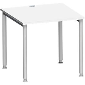 Schäfer Shop Genius Escritorio MODENA FLEX, 4 patas de tubo redondo, An 800 x P 800mm, blanco/aluminio blanco