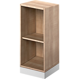 Schäfer Shop Genius Estantería de madera TETRIS SOLID, 2 AA, An 400mm, acabado en cerezo Romana/aluminio blanco