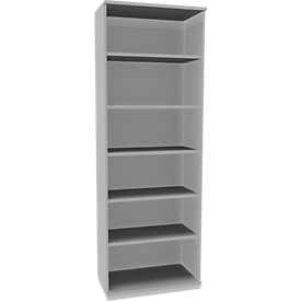 Schäfer Shop Genius Estantería de madera TETRIS SOLID, 6 AA, An 800mm, gris luminoso/aluminio blanco