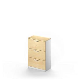 Schäfer Shop  Genius Hangmappenkast TETRIS SOLID, 3 schuifladen, 3 OH B 800 x H 1170 mm, esdoornpatroon/blank aluminium