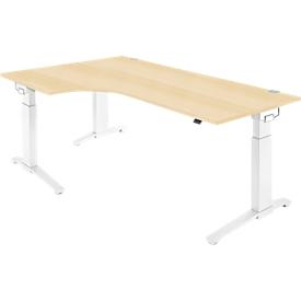 Schäfer Shop  Genius Hoekbureautafel 90° PLANOVA ERGOSTYLE, aanbouw links, handmatig in hoogte verstelbaar, B 2000 mm, esdoornpatroon/wit
