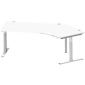 Schäfer Shop  Genius Hoekbureautafel MODENA FLEX 135°, T-poot ronde buis, B 2165 mm, aanbouw rechts, wit/blank aluminium