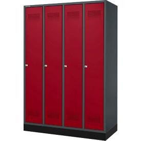 Schäfer Shop  Genius Kledinglocker met fitting, 4 compartimenten, cilinderslot, antraciet/rood