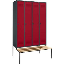 Schäfer Shop  Genius Kledinglocker met zitbank, 4 compartimenten, veiligheidsdraaigrendelslot, antraciet/rood