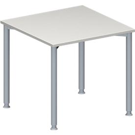 Schäfer Shop Genius Konferenztisch MODENA FLEX, Quadrat, 4-Fuß Rundrohr, B 800 x T 800 x H 720-840 mm, lichtgrau/weißaluminium RAL 9006