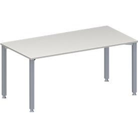 Schäfer Shop Genius Konferenztisch MODENA FLEX, Rechteck, 4-Fuß Quadratrohr, B 1600 x T 800 x H 720-840 mm, lichtgrau/weißaluminium RAL 9006