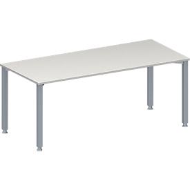 Schäfer Shop Genius Konferenztisch MODENA FLEX, Rechteck, 4-Fuß Quadratrohr, B 1800 x T 800 x H 720-840 mm, lichtgrau/weißaluminium RAL 9006