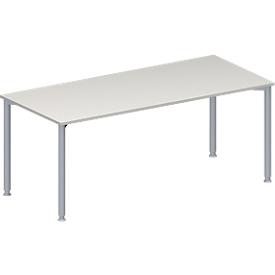 Schäfer Shop Genius Konferenztisch MODENA FLEX, Rechteck, 4-Fuß Rundrohr, B 1800 x T 800 x H 720-840 mm, lichtgrau/weißaluminium RAL 9006