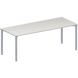 Schäfer Shop Genius Konferenztisch MODENA FLEX, Rechteck, 4-Fuß Rundrohr, B 2000 x T 800 x H 720-840 mm, lichtgrau/weißaluminium RAL 9006