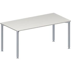Schäfer Shop Genius Konferenztisch, Rechteck, 4-Fuß Rundrohr, B 1600 x T 800 x H 720-840 mm, lichtgrau/weißaluminium RAL 9006