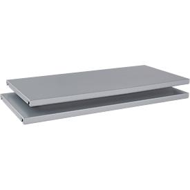 Schäfer Shop  Genius Legborden TETRIS SOLID, voor vleugeldeurkasten, van staal, B 800 mm, blank aluminium, 2 stuks