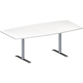 Schäfer Shop Genius Mesa de reuniones MODENA FLEX, ajustable en altura, forma de barca, pata en T de tubo redondo, An 2000 x P 1000/800mm, blanco