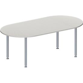 Schäfer Shop Genius Mesa de reuniones MODENA FLEX, ajustable en altura, forma ovalada, 4 patas de tubo redondo, 2000 x 1000mm, gris luminoso