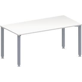 Schäfer Shop Genius Mesa de reuniones MODENA FLEX, ajustable en altura, forma rectangular, 4 patas de tubo cuadrado, An 1600 x P 800mm, sin cuadro de conexión, blanco
