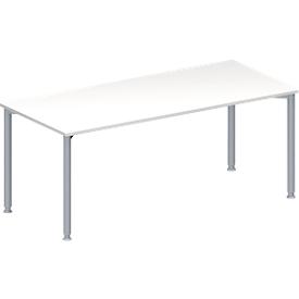 Schäfer Shop Genius Mesa de reuniones MODENA FLEX, ajustable en altura, forma rectangular, 4 patas de tubo redondo, An 1800 x P 800mm, blanco