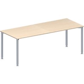 Schäfer Shop Genius Mesa de reuniones MODENA FLEX, ajustable en altura, forma rectangular, 4 patas de tubo redondo, An 2000 x P 800mm, acabado en arce