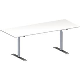 Schäfer Shop Genius Mesa de reuniones MODENA FLEX, ajustable en altura, forma rectangular, pata en T tubo redondo, An 2000 x P 800mm, blanco