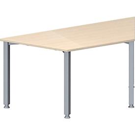Schäfer Shop Genius Mesa de reuniones MODENA FLEX, ajustable en altura, forma trapecial, 4 patas de tubo cuadrado, An 1600 x P 800mm, acabado en arce