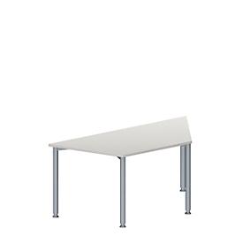 Schäfer Shop Genius Mesa de reuniones MODENA FLEX, ajustable en altura, forma trapecial, 4 patas de tubo redondo, An 1600 x P 800mm, gris luminoso